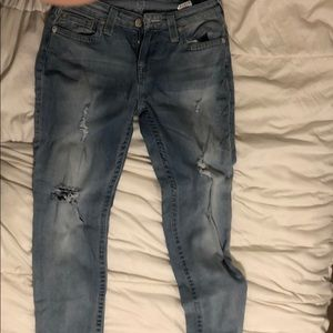 True religion light wash jeans with rips